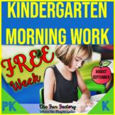 FREE WEEK of Kindergarten Morning Work for Back to School