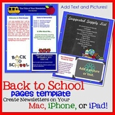 FREE!! PAGES WELCOME BACK TO SCHOOL Newsletter Template - iPads, iPhones, & Macs
