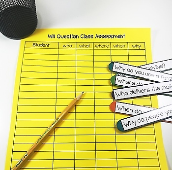 FREE WH QUESTION CRAFT STICKS