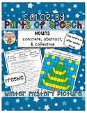 FREE WINTER Color by Parts of Speech Grammar Mystery Pictures with Worksheet
