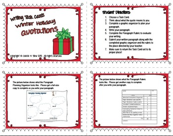 FREE! WINTER HOLIDAY Quotes Writing Task Cards with Planner and Rubric
