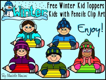 FREE WINTER KIDS PENCIL TOPPERS CLIP ART-COMMERCIAL USE-COLOUR AND BLACK-WHITE