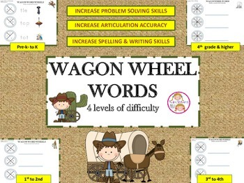 FREE! Wagon Wheel Words: Spelling, Reading, Artic  & Problem Solving Skills