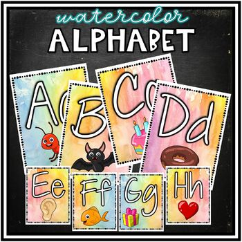 Watercolor Alphabet Posters - with pictures