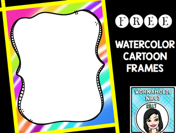 FREE Watercolor Cartoon Frames Clip Art Set