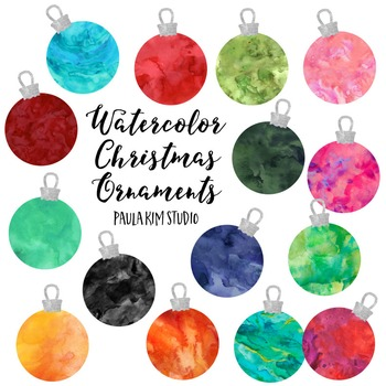FREE Watercolor Christmas Ornament Clip Art