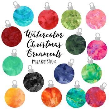 FREE Watercolor Christmas Ornament Clip Art