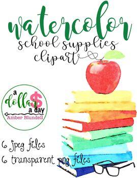 FREE Watercolor School Supplies Clipart Graphics