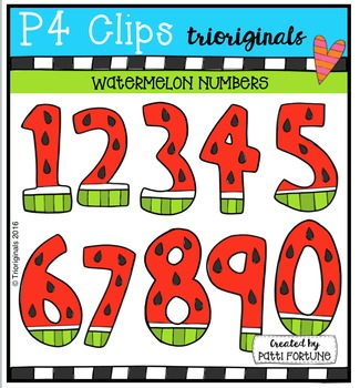 FREE  Watermelon Numbers {P4 Clips Triorignals Digital Clipart}