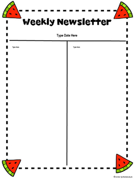 FREE Watermelon Weekly Newsletter -Editable