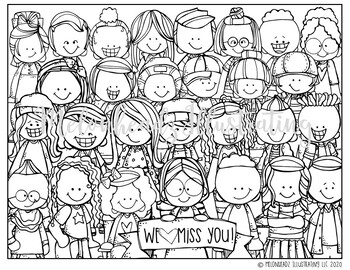 FREE We Miss You coloring page - PRINTABLE - Melonheadz Clipart