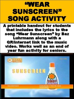 Free Wear Sunscreen Song Activity