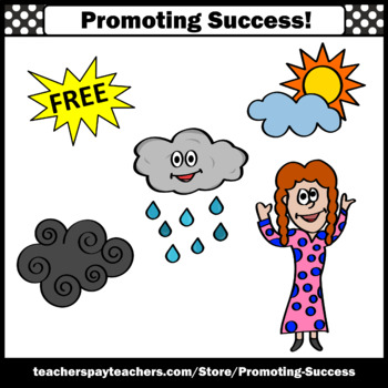 FREE Weather Clipart Sampler, Rain, Clouds Clip Art, Girl SPS