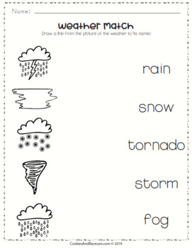 Free Weather Worksheet Pack For Prek And Kindergarten 8 Pages Tpt