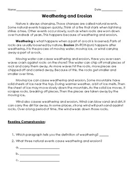 FREE! Weathering and Erosion Passage + comprehension questions