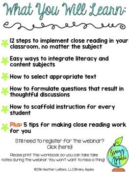 FREE Webinar Close Reading