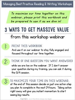 FREE Webinar Workbook: Managing Best Practice Reading and Writing Workshops