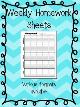 FREE - Weekly Homework Sheet  (Black & White)