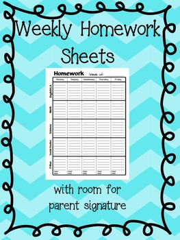 FREE - Weekly Homework Sheet: with parent sig. (Black & White)