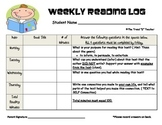 FREE Weekly Reading Log: Homework or Daily 5 (Read to Self Accountability)