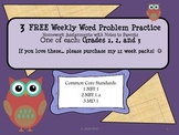 FREE Weekly Word Problems Homework Grades:1-3 with Note for Parents