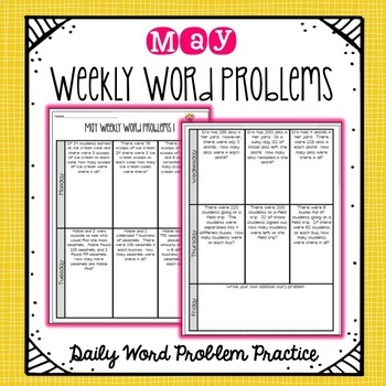 Free Weekly Word Problems May By Ashleigh Tpt
