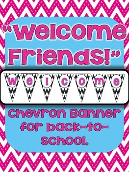 """FREE """"Welcome Friends!"""" Chevron Bunting Banner"""
