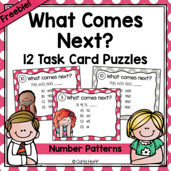 What Comes Next? Number Patterns Task Cards - FREE!