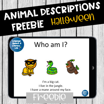 FREE Who Am I?  Animal Descriptions  -  No Print - Teletherapy
