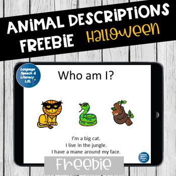 No Print Halloween Animal Descriptions  & Wh Questions