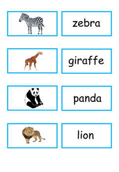 FREE Wild Animal Dominoes and wild animals picture/word matching cards
