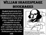 FREE William Shakespeare Bookmarks