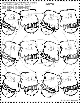 FREE Winter 2-Digit Subtraction with Regrouping Color-by-Code Printable