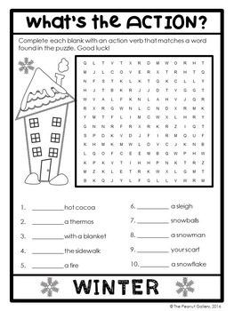 FREE Winter Action Verb Puzzle