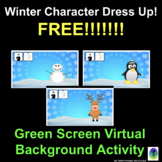 FREE! Winter Character Dress Up: Green Screen Virtual Background Activity