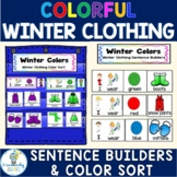 FREE-Winter Clothing-Color Match and Sort-Pronouns (PreK-2/SPED/ELL)