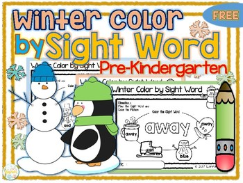 FREE Winter Color by Sight Word Pre Kindergarten