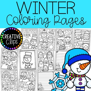 Winter Coloring Pages Writing Papers Winter Coloring Book Tpt