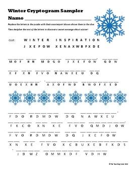 FREE Winter Cryptogram Sampler
