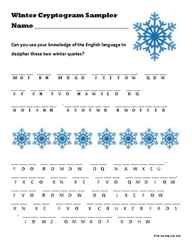 FREE Winter Cryptogram Sampler by The Teaching Zone | TpT