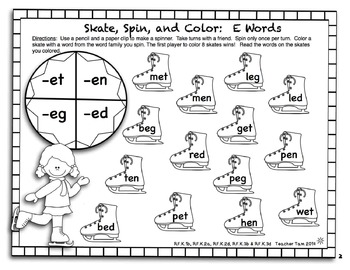 FREE! Winter Fun Cut and Color Math and Literacy for Kindergarten