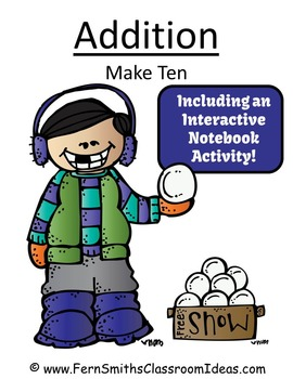 Winter Math Make Ten Addition Center and Interactive Notebook Activity Freebie