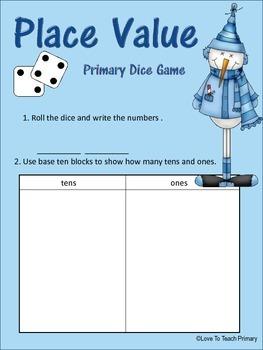 FREE Winter Math Dice Games