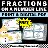 FREE Winter Math Fractions on a Number Line Task Cards