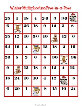 FREE Multiplication Game - Winter Multiplication 5-in-a-Row!