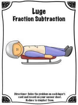 FREE Winter Sports Luge Fraction Subtraction Math Center (Common Core)