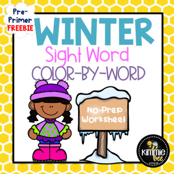 FREE Winter Reading Pre-Primer Sight Word Color-By-Word Worksheet