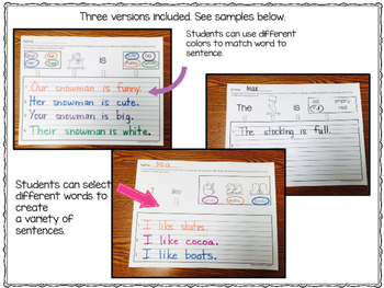 FREE Winter Sentence Writing / Sentence Helpers