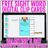 FREE Valentine's Day Sight Word Digital Clip Cards   Sight