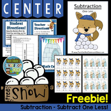 Winter Subtraction One Less Concept Center and Interactive Notebook Freebie